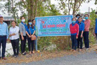 Trường tham gia Lễ khởi công tháng thanh niên của xã Tân Thuận
